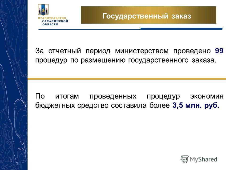 Государственный заказ За отчетный период министерством проведено 99 процедур по размещению государственного заказа. По итогам проведенных процедур экономия бюджетных средство составила более 3,5 млн. руб.
