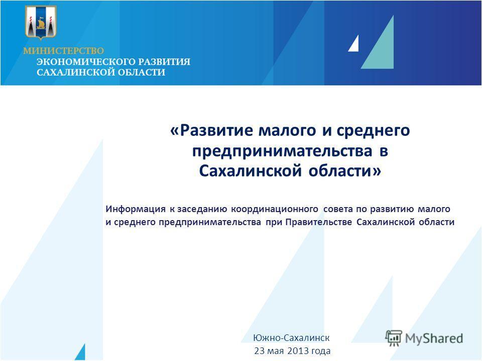 Южно-Сахалинск 23 мая 2013 года «Развитие малого и среднего предпринимательства в Сахалинской области» Информация к заседанию координационного совета по развитию малого и среднего предпринимательства при Правительстве Сахалинской области