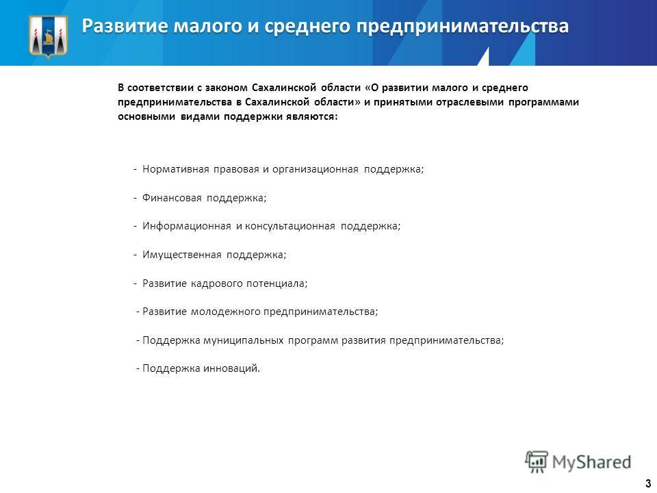 Развитие малого и среднего предпринимательства В соответствии с законом Сахалинской области «О развитии малого и среднего предпринимательства в Сахалинской области» и принятыми отраслевыми программами основными видами поддержки являются: 3 - Норматив