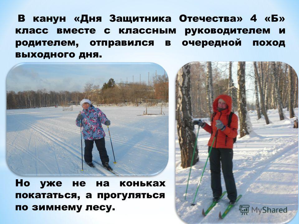 В канун «Дня Защитника Отечества» 4 «Б» класс вместе с классным руководителем и родителем, отправился в очередной поход выходного дня. Но уже не на коньках покататься, а прогуляться по зимнему лесу.