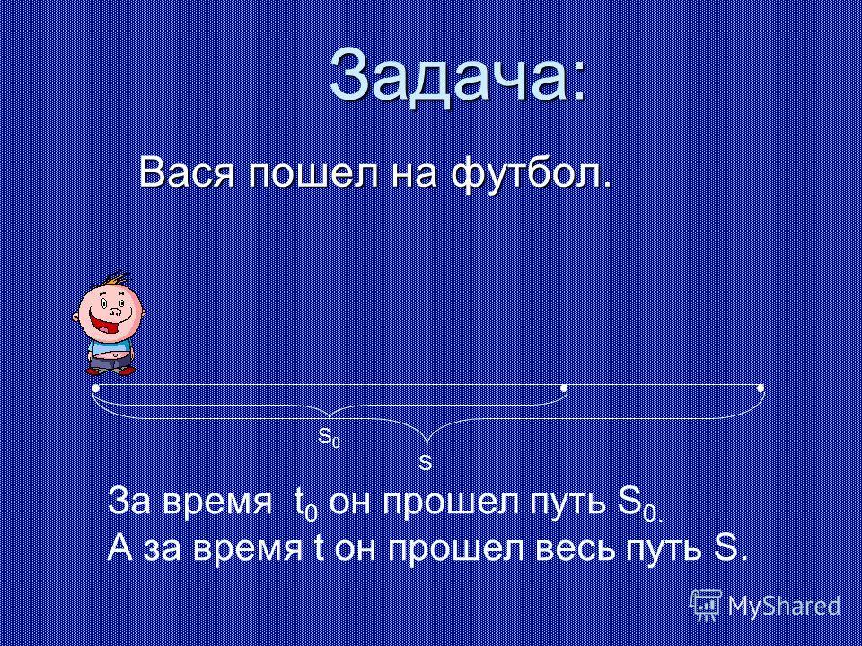Задача: Вася пошел на футбол. За время t 0 он прошел путь S 0. А за время t он прошел весь путь S. S0S0 S