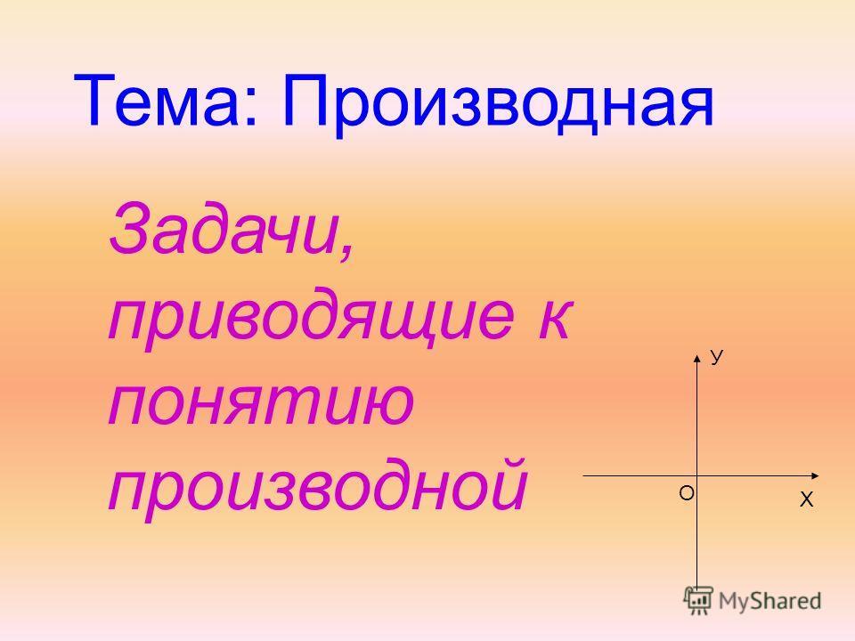 Тема: Производная Задачи, приводящие к понятию производной У Х О