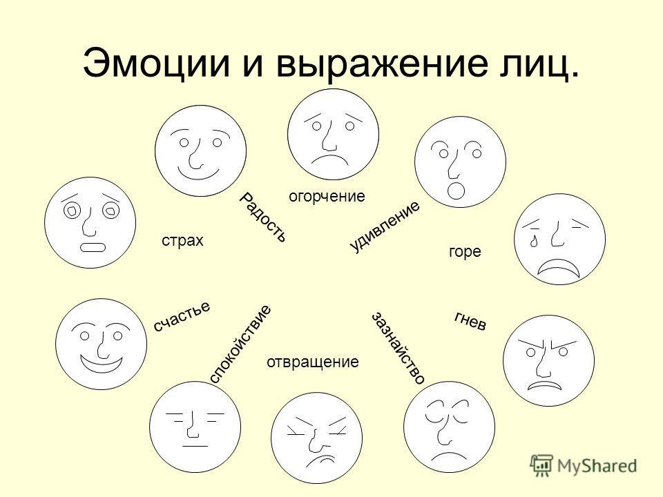 Эмоции и выражение лиц. Радость огорчение страх горе гнев зазнайство удивление счастье спокойствие отвращение