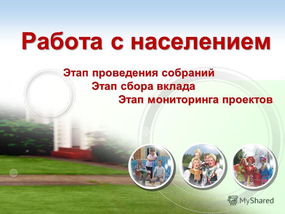 Работа с населением проведения собраний Этап проведения собраний Этап сбора вклада Этап мониторинга проектов Этап мониторинга проектов