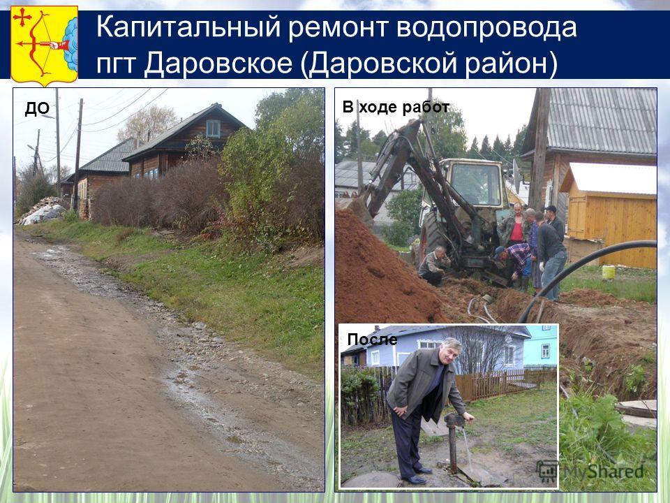 Капитальный ремонт водопровода пгт Даровское (Даровской район) ДО В ходе работ После