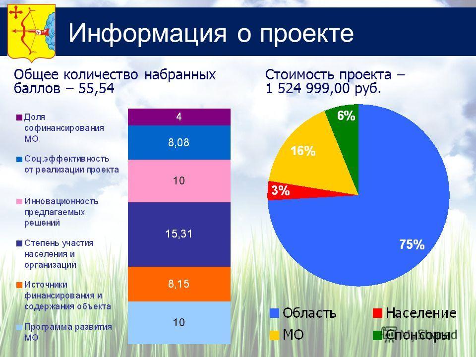 Информация о проекте Стоимость проекта – 1 524 999,00 руб. Общее количество набранных баллов – 55,54