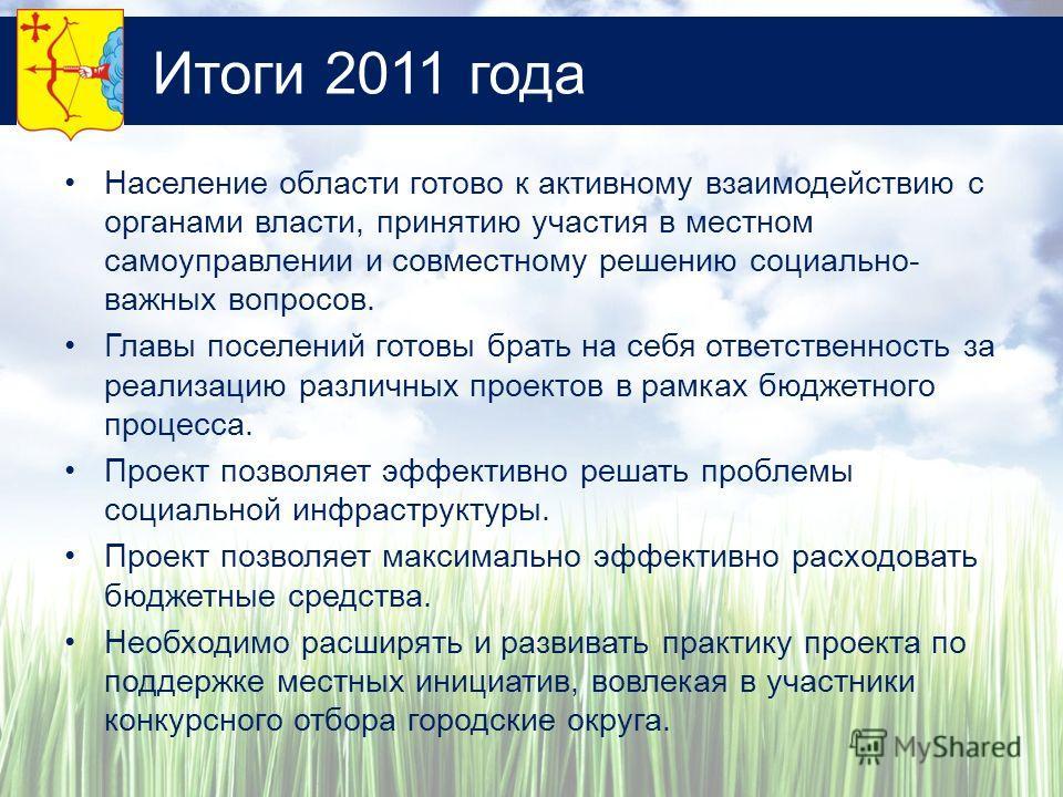 Итоги 2011 года Население области готово к активному взаимодействию с органами власти, принятию участия в местном самоуправлении и совместному решению социально- важных вопросов. Главы поселений готовы брать на себя ответственность за реализацию разл