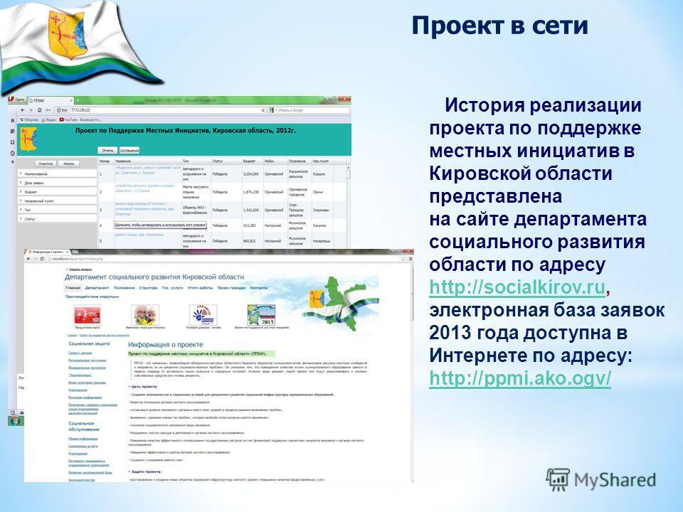 История реализации проекта по поддержке местных инициатив в Кировской области представлена на сайте департамента социального развития области по адресу http://socialkirov.ru, электронная база заявок 2013 года доступна в Интернете по адресу: http://pp