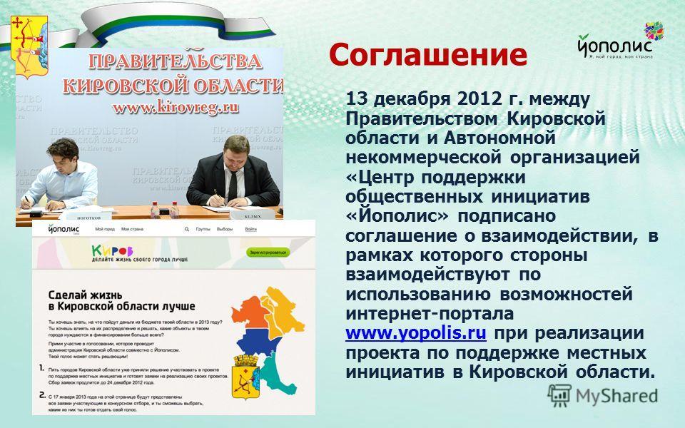 Соглашение 13 декабря 2012 г. между Правительством Кировской области и Автономной некоммерческой организацией «Центр поддержки общественных инициатив «Йополис» подписано соглашение о взаимодействии, в рамках которого стороны взаимодействуют по исполь