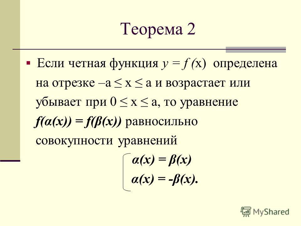 Теорема 2 Если четная функция y = f (x) определена на отрезке –a x a и возрастает или убывает при 0 x a, то уравнение f(α(x)) = f(β(x)) равносильно совокупности уравнений α(x) = β(x) α(x) = -β(x).