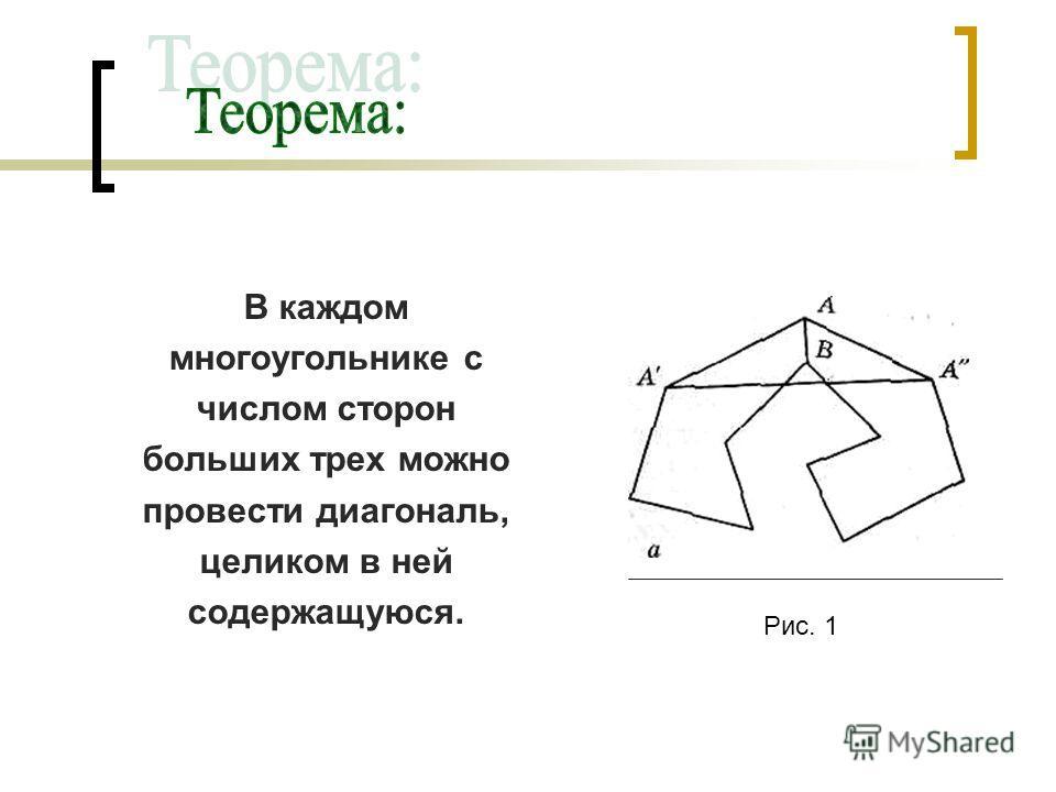 В каждом многоугольнике с числом сторон больших трех можно провести диагональ, целиком в ней содержащуюся. Рис. 1