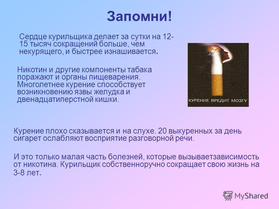 Запомни! Курение плохо сказывается и на слухе. 20 выкуренных за день сигарет ослабляют восприятие разговорной речи. И это только малая часть болезней, которые вызываетзависимость от никотина. Курильщик собственноручно сокращает свою жизнь на 3-8 лет.