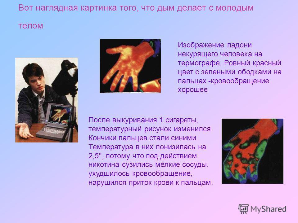 Вот наглядная картинка того, что дым делает с молодым телом Изображение ладони некурящего человека на термографе. Ровный красный цвет с зелеными ободками на пальцах -кровообращение хорошее После выкуривания 1 сигареты, температурный рисунок изменился
