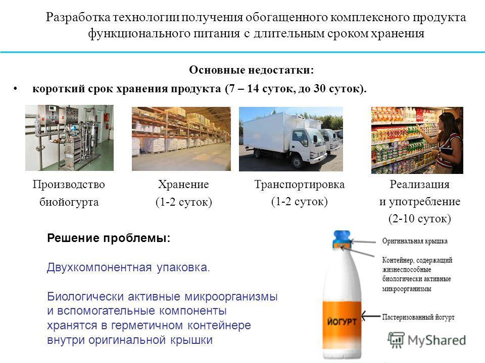Производство биойогурта Хранение (1-2 суток) Транспортировка (1-2 суток) Реализация и употребление (2-10 суток) Основные недостатки: короткий срок хранения продукта (7 – 14 суток, до 30 суток). Разработка технологии получения обогащенного комплексног