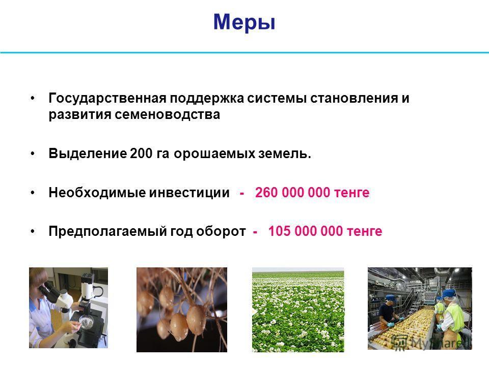 Меры Государственная поддержка системы становления и развития семеноводства Выделение 200 га орошаемых земель. Необходимые инвестиции - 260 000 000 тенге Предполагаемый год оборот - 105 000 000 тенге
