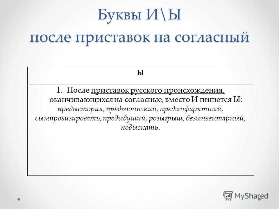 Буквы И\Ы после приставок на согласный Ы 1.После приставок русского происхождения, оканчивающихся на согласные, вместо И пишется Ы: предыстория, предыюньский, предынфарктный, сымпровизировать, предыдущий, розыгрыш, безынвентарный, подыскать.