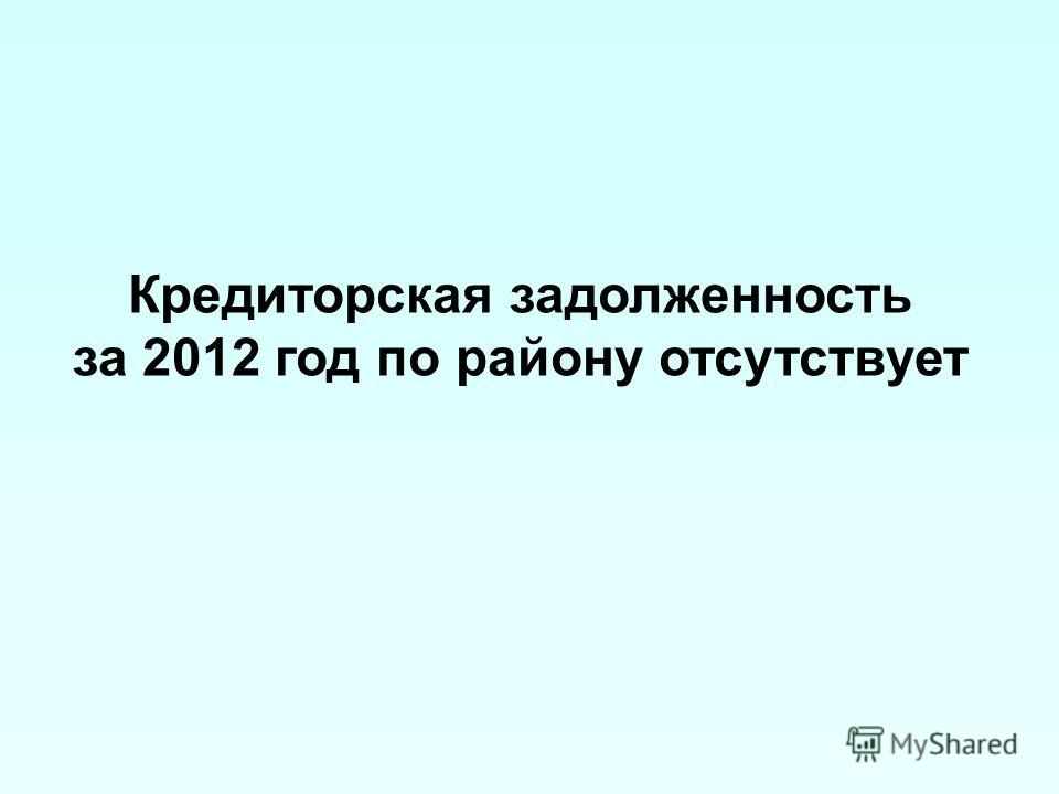 Кредиторская задолженность за 2012 год по району отсутствует