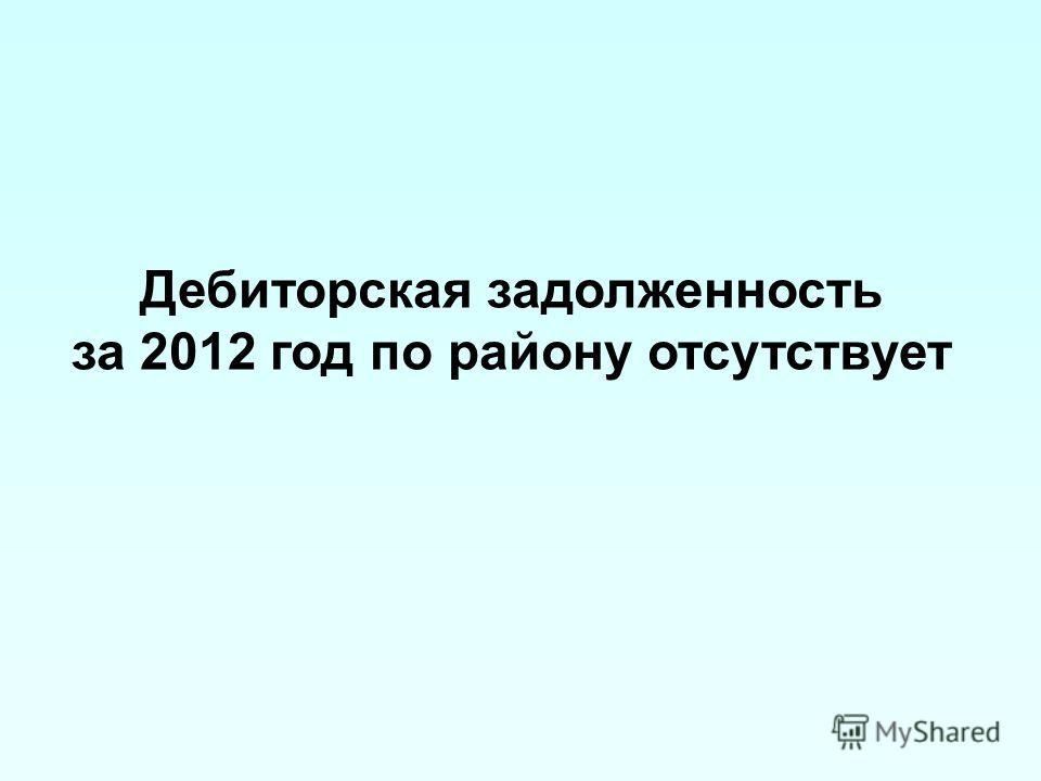 Дебиторская задолженность за 2012 год по району отсутствует