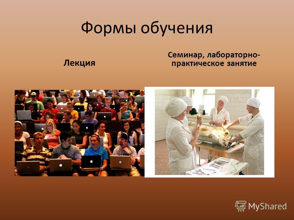 Формы обучения Лекция Семинар, лабораторно- практическое занятие