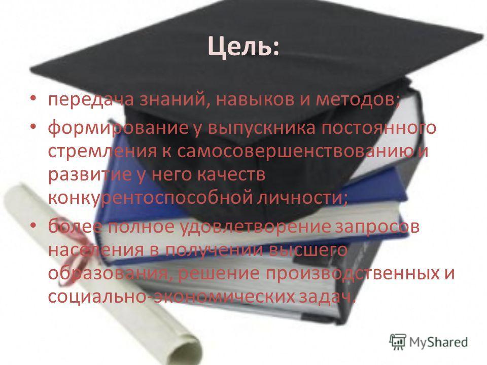 Цель: передача знаний, навыков и методов; формирование у выпускника постоянного стремления к самосовершенствованию и развитие у него качеств конкурентоспособной личности; более полное удовлетворение запросов населения в получении высшего образования,