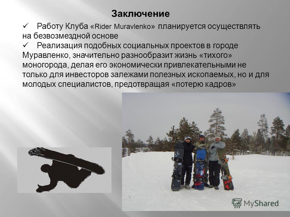 Работу Клуба « Rider Muravlenko » планируется осуществлять на безвозмездной основе Реализация подобных социальных проектов в городе Муравленко, значительно разнообразит жизнь «тихого» моногорода, делая его экономически привлекательными не только для