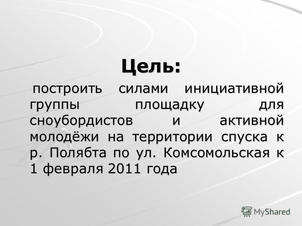 Цель: построить силами инициативной группы площадку для сноубордистов и активной молодёжи на территории спуска к р. Полябта по ул. Комсомольская к 1 февраля 2011 года построить силами инициативной группы площадку для сноубордистов и активной молодёжи