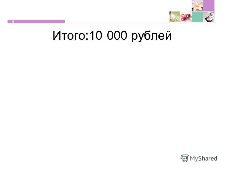 Итого:10 000 рублей
