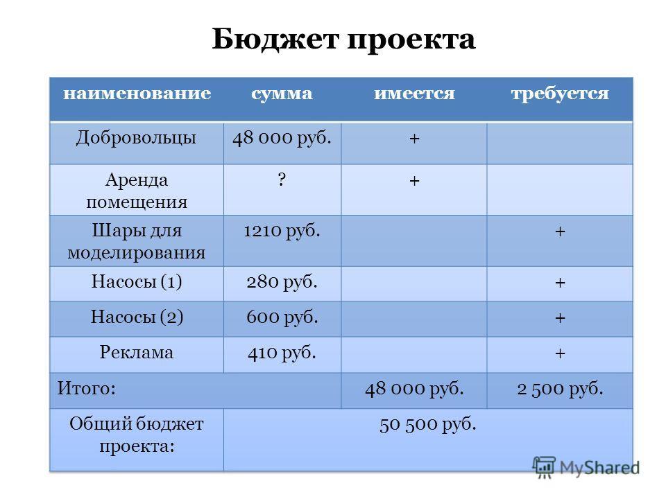Бюджет проекта