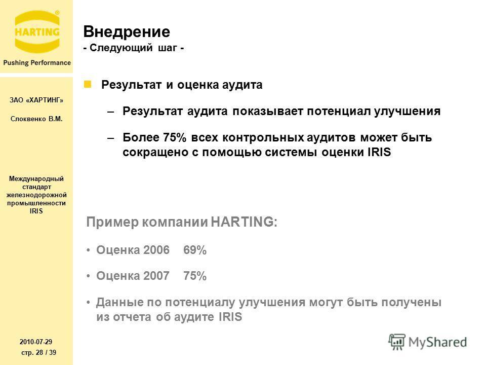 ЗАО «ХАРТИНГ» Слоквенко В.М. Международный стандарт железнодорожной промышленности IRIS 2010-07-29 стр. 28 / 39 Внедрение - Следующий шаг - Результат и оценка аудита –Результат аудита показывает потенциал улучшения –Более 75% всех контрольных аудитов