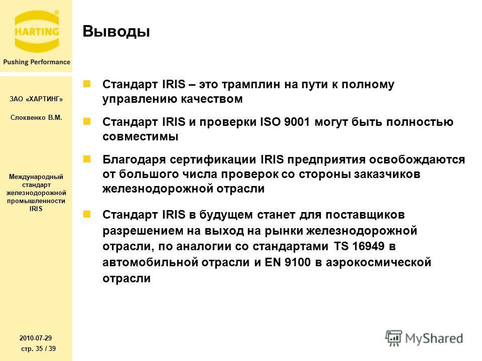 ЗАО «ХАРТИНГ» Слоквенко В.М. Международный стандарт железнодорожной промышленности IRIS 2010-07-29 стр. 35 / 39 Выводы Стандарт IRIS – это трамплин на пути к полному управлению качеством Стандарт IRIS и проверки ISO 9001 могут быть полностью совмести