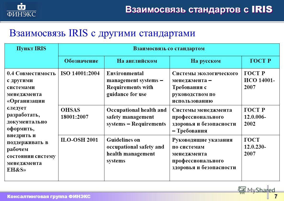 Консалтинговая группа ФИНЭКС 7 Взаимосвязь стандартов с IRIS Взаимосвязь IRIS с другими стандартами Пункт IRISВзаимосвязь со стандартом ОбозначениеНа английскомНа русскомГОСТ Р 0.4 Совместимость с другими системами менеджмента «Организации следует ра
