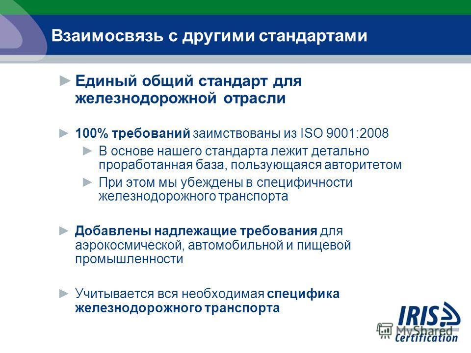 Единый общий стандарт для железнодорожной отрасли 100% требований заимствованы из ISO 9001:2008 В основе нашего стандарта лежит детально проработанная база, пользующаяся авторитетом При этом мы убеждены в специфичности железнодорожного транспорта Доб