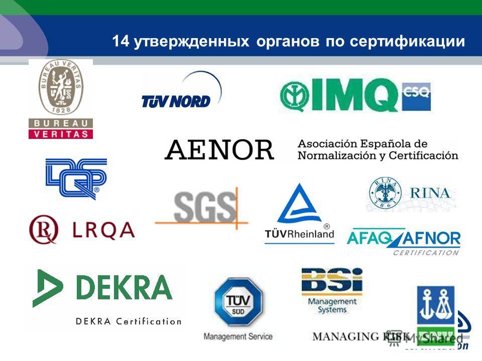 14 утвержденных органов по сертификации