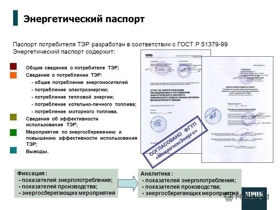 Паспорт потребителя ТЭР разработан в соответствии с ГОСТ Р 51379-99 Энергетический паспорт содержит: Энергетический паспорт Общие сведения о потребителе ТЭР; Сведения о потреблении ТЭР: - общее потребление энергоносителей - потребление электроэнергии