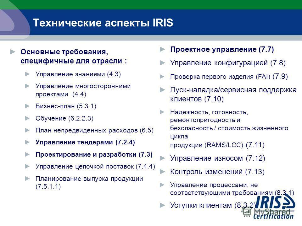 Основные требования, специфичные для отрасли : Управление знаниями (4.3) Управление многосторонними проектами (4.4) Бизнес-план (5.3.1) Обучение (6.2.2.3) План непредвиденных расходов (6.5) Управление тендерами (7.2.4) Проектирование и разработки (7.