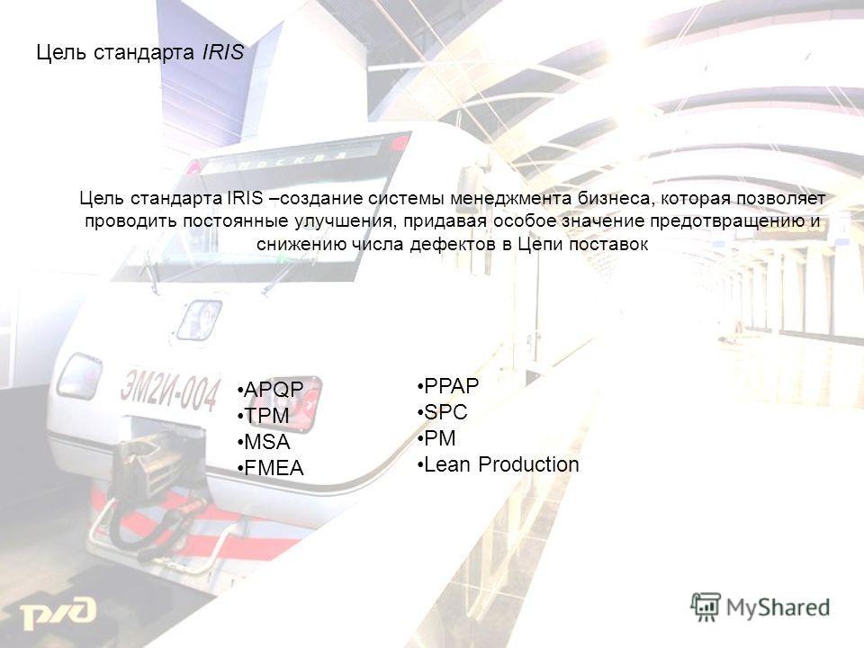 Цель стандарта IRIS APQP TPM MSA FMEA PPAP SPC PM Lean Production Цель стандарта IRIS –создание системы менеджмента бизнеса, которая позволяет проводить постоянные улучшения, придавая особое значение предотвращению и снижению числа дефектов в Цепи по