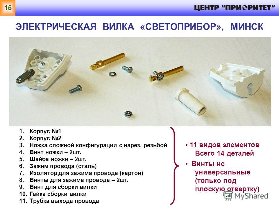 15 ЭЛЕКТРИЧЕСКАЯ ВИЛКА «СВЕТОПРИБОР», МИНСК 1.Корпус 1 2.Корпус 2 3.Ножка сложной конфигурации с нарез. резьбой 4.Винт ножки – 2шт. 5.Шайба ножки – 2шт. 6.Зажим провода (сталь) 7.Изолятор для зажима провода (картон) 8.Винты для зажима провода – 2шт.
