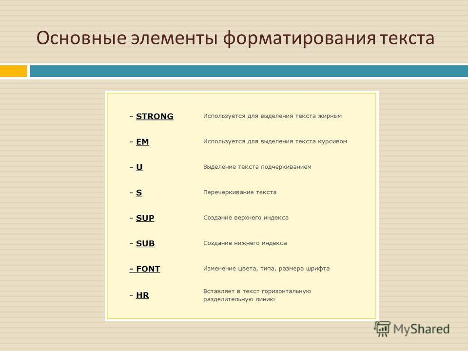 Основные элементы форматирования текста
