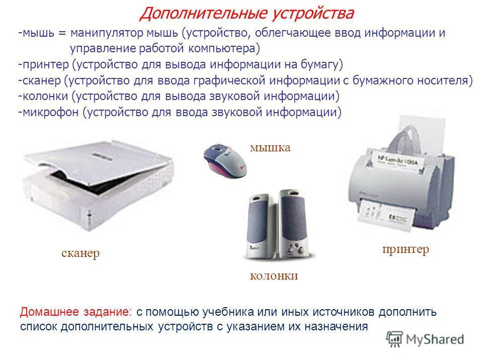 -мышь = манипулятор мышь (устройство, облегчающее ввод информации и управление работой компьютера) -принтер (устройство для вывода информации на бумагу) -сканер (устройство для ввода графической информации с бумажного носителя) -колонки (устройство д