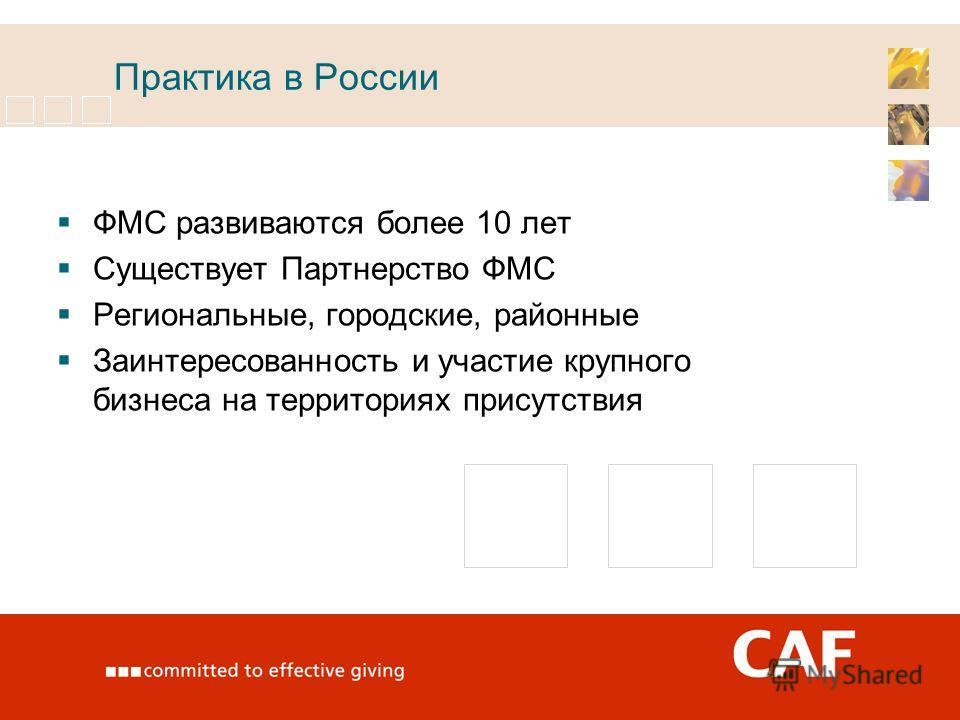 Практика в России ФМС развиваются более 10 лет Существует Партнерство ФМС Региональные, городские, районные Заинтересованность и участие крупного бизнеса на территориях присутствия
