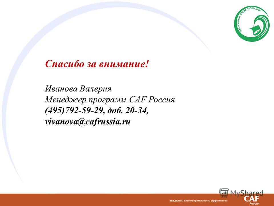 Спасибо за внимание! Иванова Валерия Менеджер программ CAF Россия (495)792-59-29, доб. 20-34, vivanova@cafrussia.ru