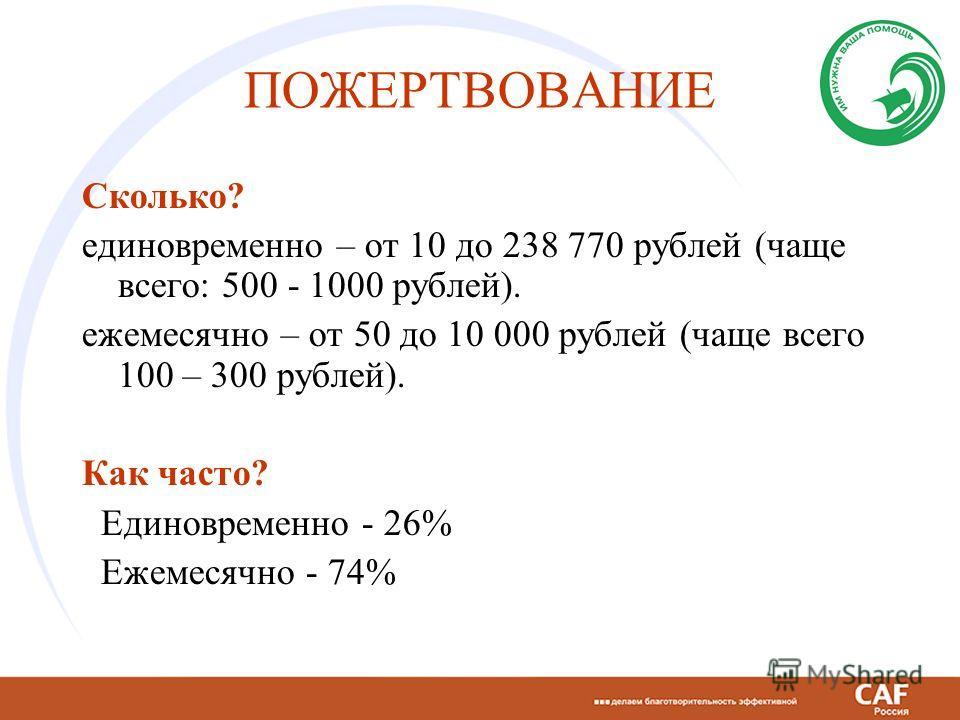ПОЖЕРТВОВАНИЕ Сколько? единовременно – от 10 до 238 770 рублей (чаще всего: 500 - 1000 рублей). ежемесячно – от 50 до 10 000 рублей (чаще всего 100 – 300 рублей). Как часто? Единовременно - 26% Ежемесячно - 74%