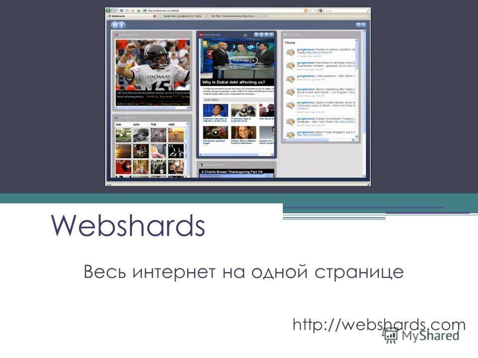 Webshards Весь интернет на одной странице http://webshards.com