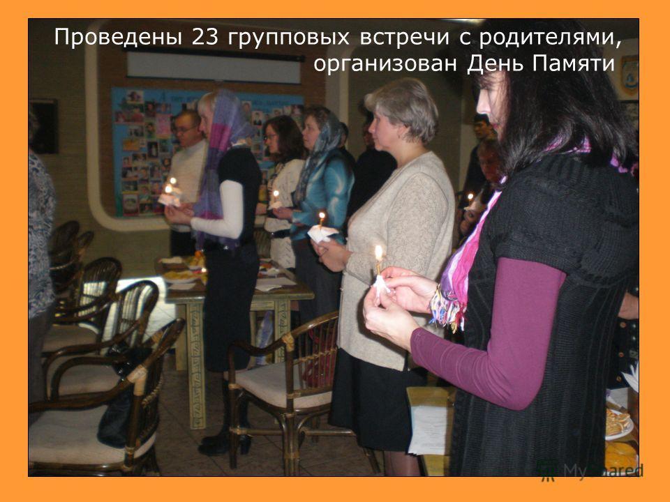 Проведены 23 групповых встречи с родителями, организован День Памяти
