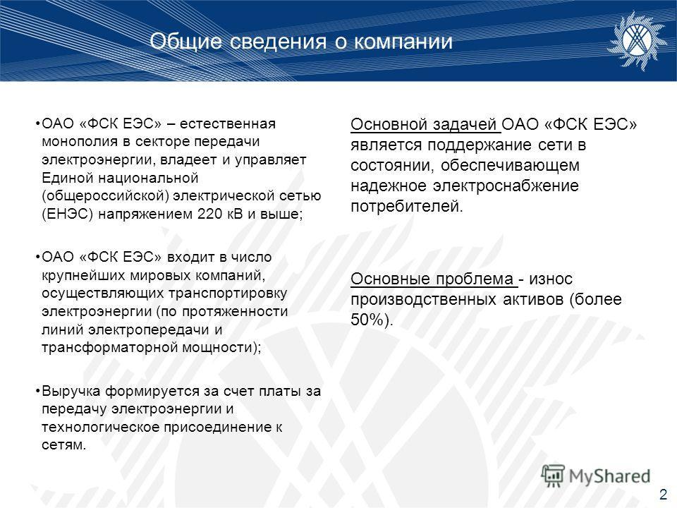 Общие сведения о компании ОАО «ФСК ЕЭС» – естественная монополия в секторе передачи электроэнергии, владеет и управляет Единой национальной (общероссийской) электрической сетью (ЕНЭС) напряжением 220 кВ и выше; ОАО «ФСК ЕЭС» входит в число крупнейших