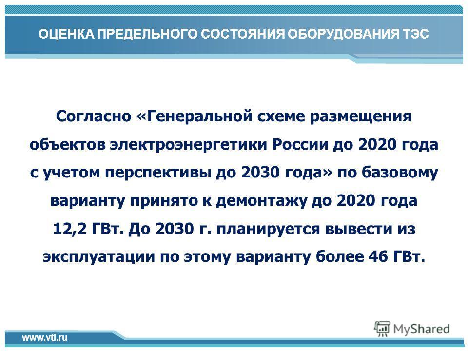 www.vti.ru Click to add title in here 4 1 Согласно «Генеральной схеме размещения объектов электроэнергетики России до 2020 года с учетом перспективы до 2030 года» по базовому варианту принято к демонтажу до 2020 года 12,2 ГВт. До 2030 г. планируется