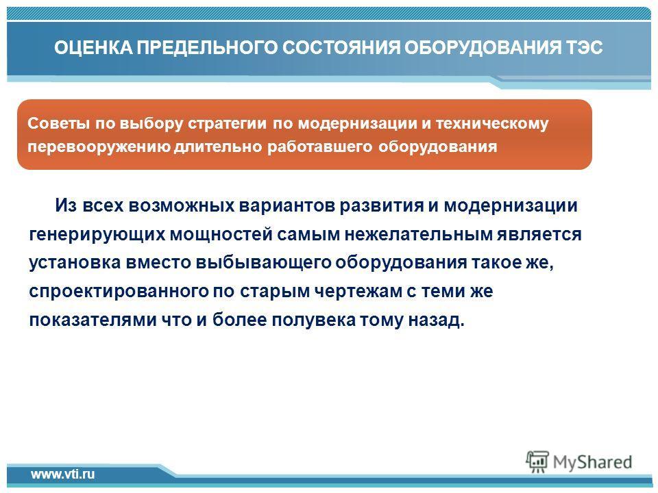 www.vti.ru Click to add title in here 1 ОЦЕНКА ПРЕДЕЛЬНОГО СОСТОЯНИЯ ОБОРУДОВАНИЯ ТЭС Из всех возможных вариантов развития и модернизации генерирующих мощностей самым нежелательным является установка вместо выбывающего оборудования такое же, спроекти