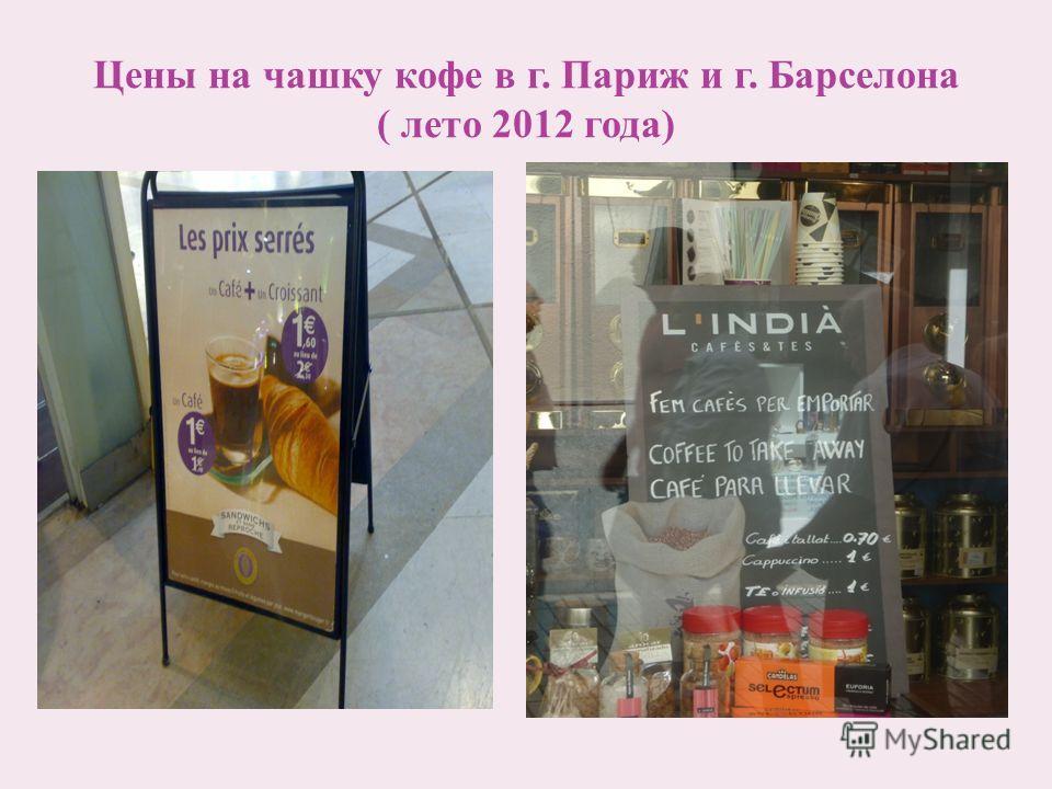 Цены на чашку кофе в г. Париж и г. Барселона ( лето 2012 года)