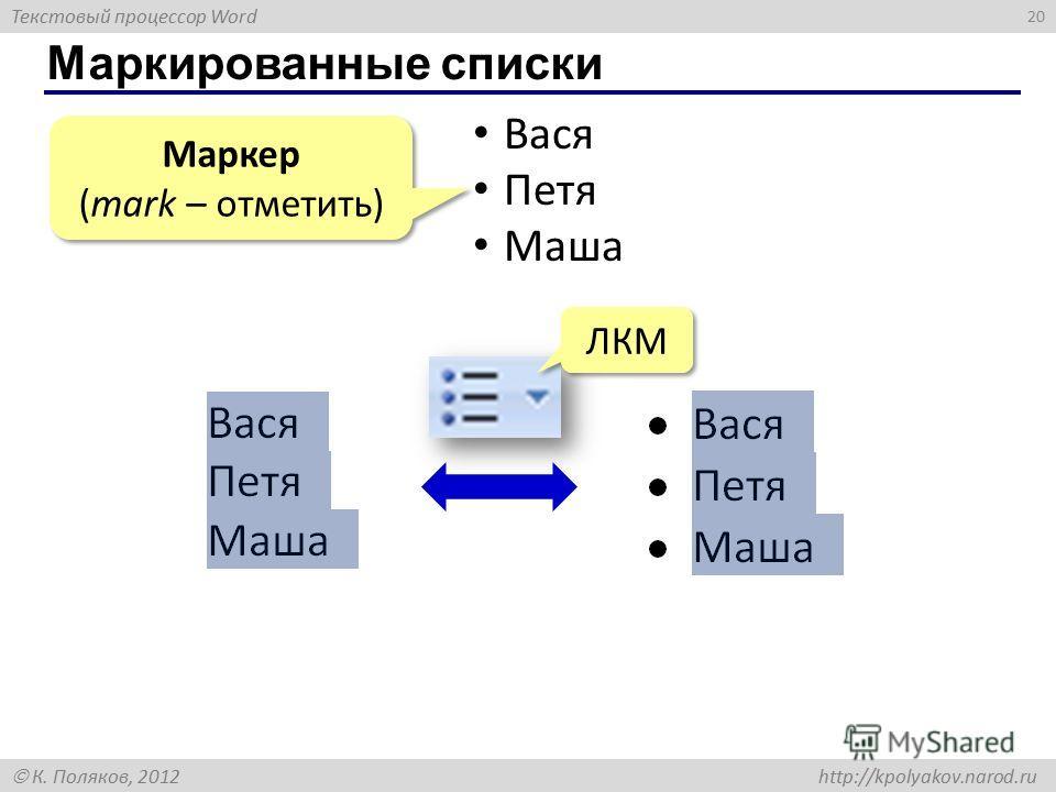 Текстовый процессор Word К. Поляков, 2012 http://kpolyakov.narod.ru Маркированные списки 20 Вася Петя Маша Маркер (mark – отметить) Маркер (mark – отметить) ЛКМ