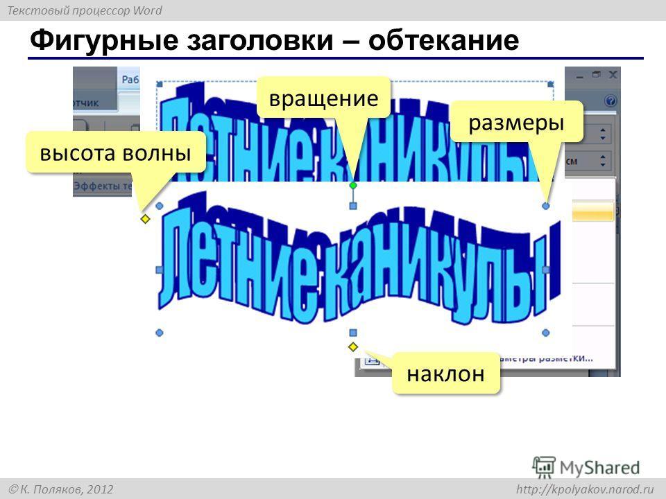 Текстовый процессор Word К. Поляков, 2012 http://kpolyakov.narod.ru Фигурные заголовки – обтекание вращение размеры высота волны наклон